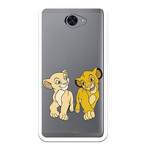 Funda para Huawei Y7 Oficial de Simba y Nala Mirada cómplice para Proteger tu móvil. Carcasa para Huawei de Silicona Flexible con Licencia Oficial de Disney - El Rey León