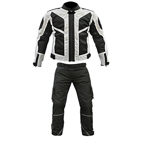 AZ, tuta da moto a 2 pezzi CE in cordura impermeabile, colore nero e grigio Black/White S