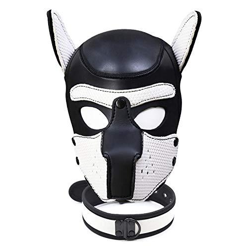 XWYWP Máscara de Halloween Máscara Cabeza de Perro Máscara de Halloween Juego de rol Cachorro Cosplay Cabeza Completa con Oídos Discoteca Actuaciones Fiesta IL