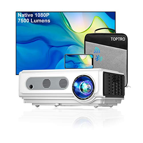 Wifi Projector Bluetooth TOPTRO Native 1080P Full HD Outdoor Projector 7500 Lumen Home Cinema Projector, Support ±15° Keystone & Zoom, Compatible with Phone/TV Stick/PC/USB/PS4