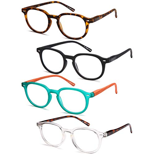 Gamma Ray Reading Glasses - 4 Pairs Flex Round Readers for Women and Men - 1.50