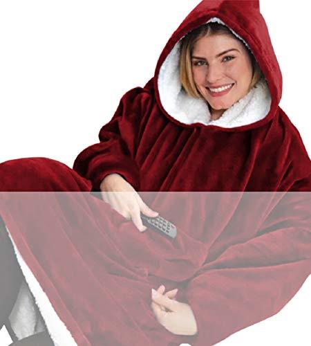 Tuopuda Hoodie Damen Herren Übergroße Decke Sweatshirt Pullover mit Kapuze Langarm Kapuzenpullover Langarmshirt Super Weiche Gemütliche Warme Riesen-Hoodie Pulli mit Kordel Taschen, rot One Size