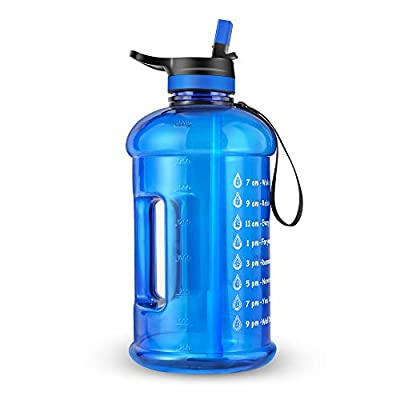 layajia 73OZ/0.6 Gallon Motivational Large Water Bottle with Straw & Time Marker, Leakproof BPA Free Big Water Jug, Wide Mouth Portable, Ensure You Drink Enough Water Daily for Fitness Outdoor Sports