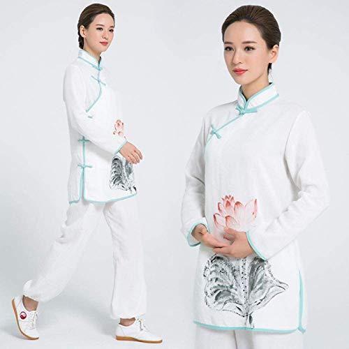Guiob, abbigliamento per arti marziali, uniforme cinese tradizionale per Tai Chi e Wing Chun leggeri abiti per meditazione e Qigong, bianco-XS