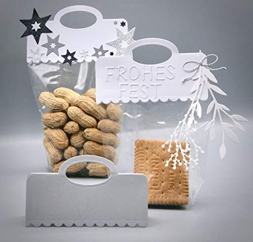 Simplelettering Stanzschablone/Cutting Dies Kekse Gebäck Süßigkeiten Geschenke Topper Scallop, 11x 6 cm (Header fertig), kompatibel mit Allen gängigen Stanzmaschinen
