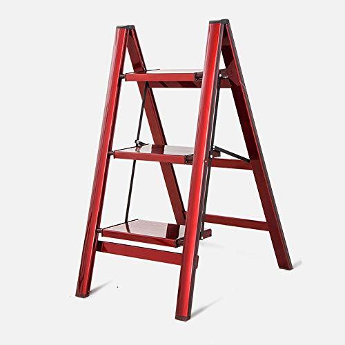 3 Peldaños Taburete Plegable Hogar 2 4 Peldaños Aleación De Aluminio Escalera Interior Y Exterior Estante Soporte De Flores Soporte De Carga 150 Kg 3 Pasos En Rojo
