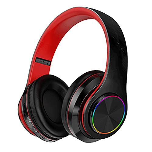 N\C Auriculares Bluetooth Luminosos Subwoofer estéreo, Auriculares estéreo plegables inalámbricos luminosos, auriculares inalámbricos para teléfono móvil