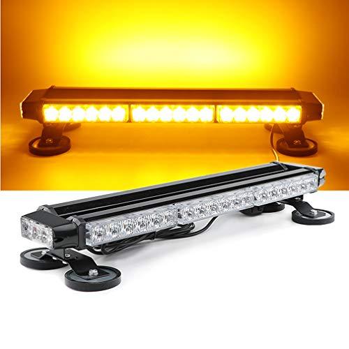 JUEJIDP LEDs Auto Notlichtleiste 40W Warnblitzlicht, Blitzlicht mit Magnetfuß für 12V / 24V Universal,Gelb