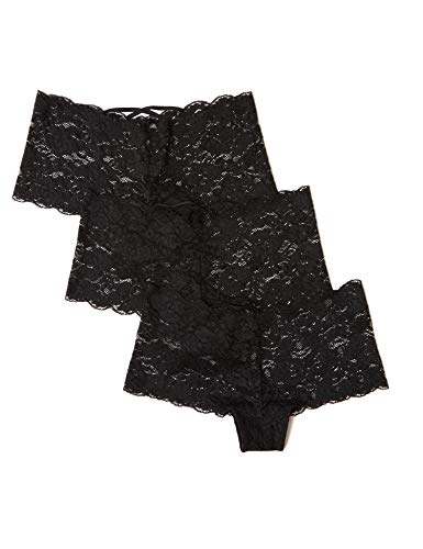 Amazon-Marke: Iris & Lilly Floral Lace Hipster, 3er Pack,, Schwarz (Black), XS, Label: XS