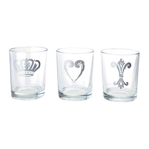 IKEA 3-er Set Teelichthalter KEJSARKRONA Teelichtgläser - 3 Stück - 6cm hoch - für Teelichter/Kerzen bis 3,5cm Durchmesser
