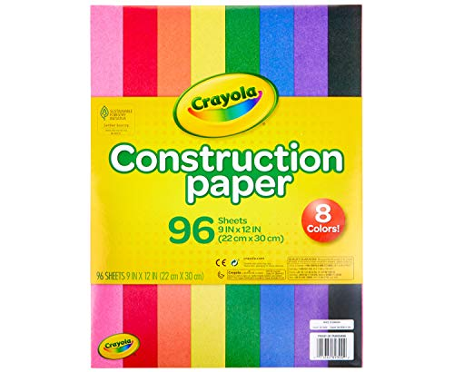 "Crayola Construction Paper, School Supplies, 96 ct Assorted Colors, 9"" x 12"""