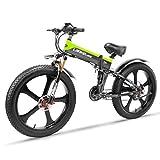 LANKELEISI TT750PLUS 26 Inch Large Folding Tyre Snow Mountain Electric Bike Beach 48V10Ah Shimano 27 Speeds Full Suspension 500W Motor, Double Hydraulic Disc Brake (Green)