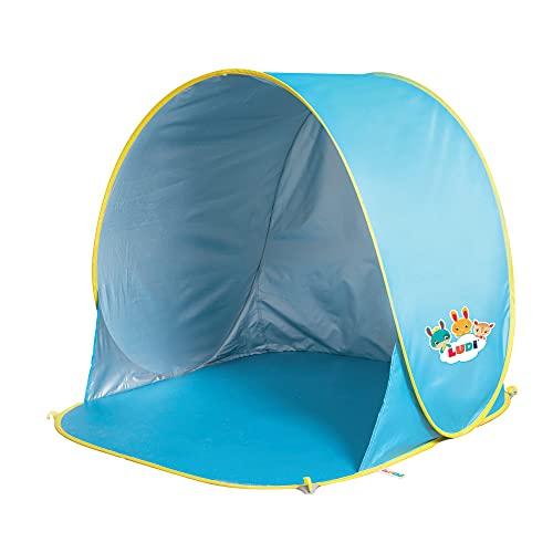 LUDI - Tente de plage avec Protection UV 50. Dès 10 mois. Structure pop-up légère, se plie et se...