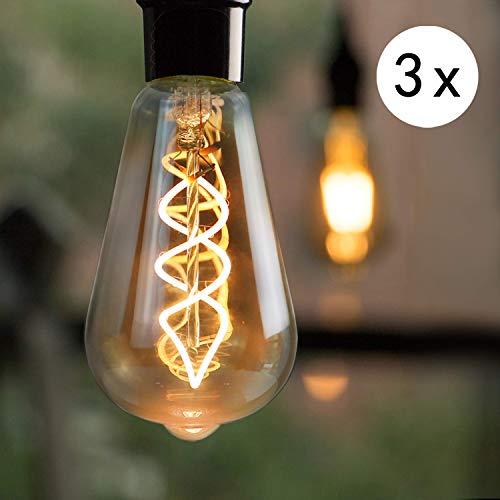 3x Edison Glühbirne E27 LED, 4W Vintage Glühlampe, GBLY Dimmbar Dekorative Antike Lampen, ST64 Warmweiß 2200K Filament Bulb Ideal für Nostalgie und Retro Beleuchtung im Haus Café Bar Restaurant