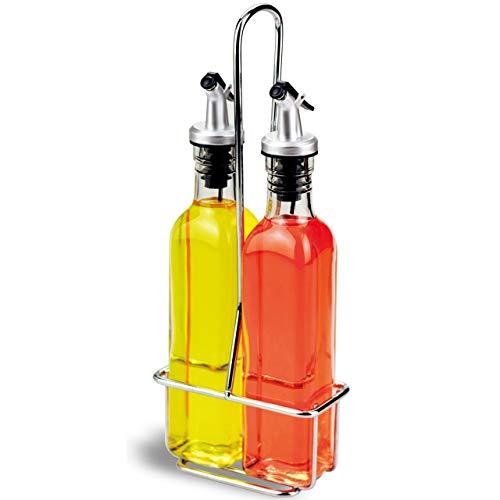 A|M|I|N|A Essig und Öl Spender Set - 3-teilig, 2 Ölflaschen und Halterung | Auslaufsicher und Tropffrei | mit Anti-Schmutz Verschluss (250 ml)