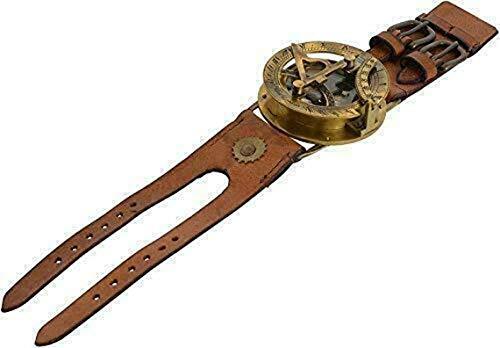 Armbanduhr aus Messing, nautische Antike, Steampunk-Sonnenuhr, Kompass, mit Lederarmband, handgefertigte Kollektion | Sonnenuhr-Kompass | Nautical Collection