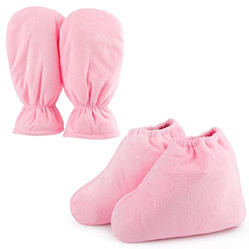 Guantes de cera de parafina para manos y pies, Segbeauty más grandes de parafina con calefacción manopla pie revestimientos, guantes y calcetines para Cera caliente Terapia Tratamiento Termal de rosa