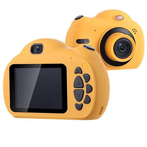FOVIUPET Portable 2.4 Inch Screen HD 1080P Dual Lens Children Digital Cameras Kids Selfie Camcorder with 32GB SD Card for 3-10 Year Old Girls Boys Best Birthday Gift Toys (Orange)