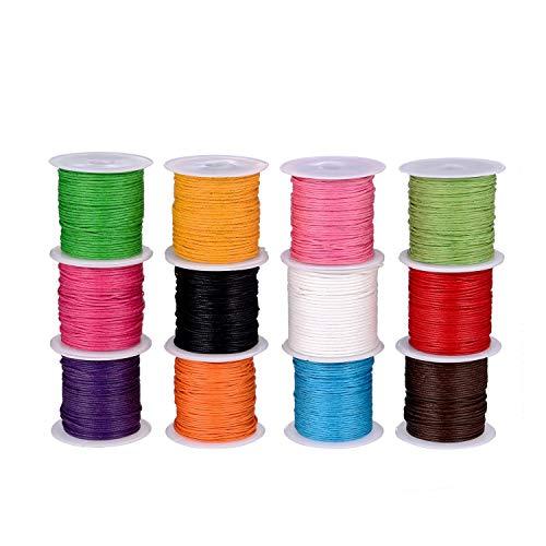 Cordón Encerado,Cera Trenzado 12 rollos 1mm Vistoso Hilo de Cuerda Cuerdas para Collar DIY Collar Pulsera Fabricación de Artesanía 120m