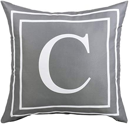 ASPMIZ Throw Pillow Covers English Alphabet C Pillow Covers Initial Pillowcases Gray Letter product image