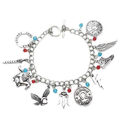 Athena Brands Percy Jackson - Braccialetto con charm per cosplay, di qualità, con confezione regalo
