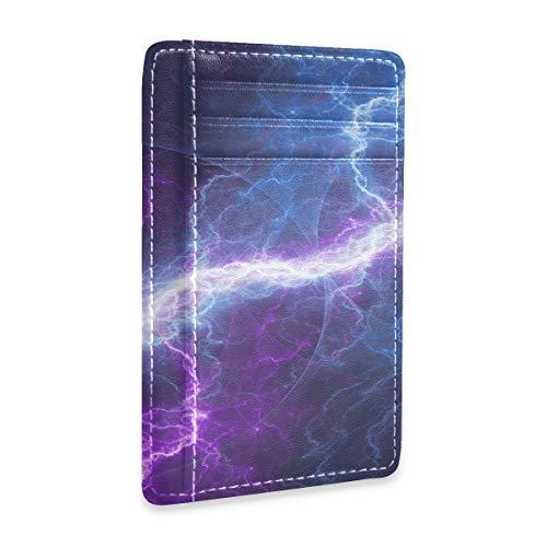Cartera de Hombre de Cuero Azul púrpura relámpago eléctrico Tarjetero Abstracto para...