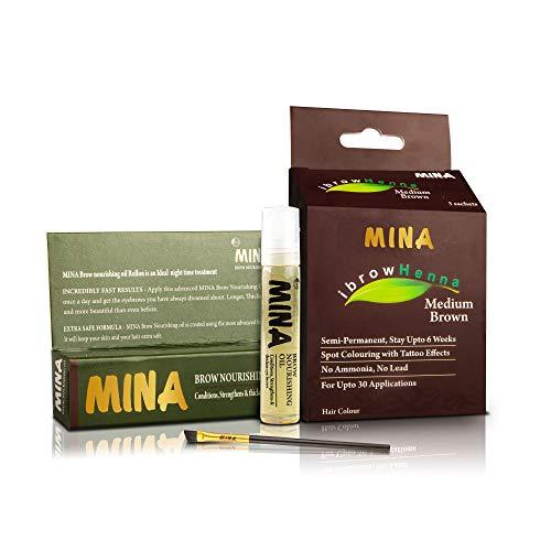 MINA ibrow Henna Medium Brown Professional Tint Kit With Nourishing Oil & Brush Combo Pack | No Ammonia | Vegan & Cruelty free | Upto 30 Applications