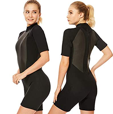 Flexel Wetsuit Shorty Women 3mm Surfing Swimming Snorkeling Wet Suits Girls Short Sleeves Scuba Diving Swim Wear (3mm Black, 2XL)