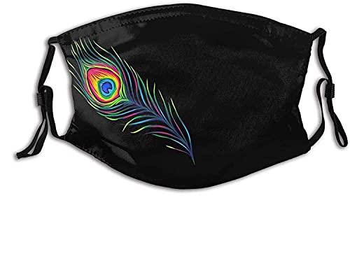 YRUI Atmungsaktive Gesichtsmaske für Erwachsene, Pfauenfedern, Halstuch, Schal, winddicht, atmungsaktiv, Angeln, Wandern, Laufen, Radfahren