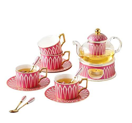 SASAMM European Ceramic Tea Set Coffee set Porcelain Tea Set,With Candle Warmer Glass Teapot,flower tea set 200ML/Cup,600ML/Pot.(Large model)