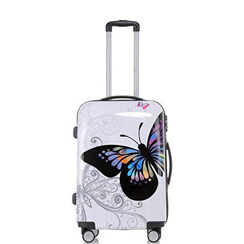 Warenhandel König - Maleta de viaje con plástico ABS policarbonato, rígida y diseño BB Multicolor mariposa 3: 70 Liter - Gr. L