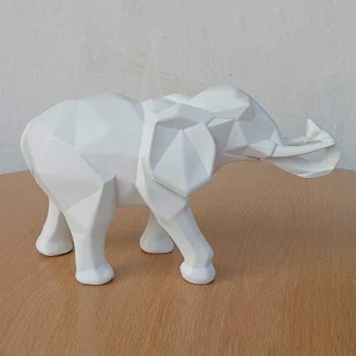 Resina Figuras geométricas de Elefantes Decoraciones de Origami Muebles de Animales Abstractos Escultura de Animales Adornos Adornos de Escritorio Artesanía 26 * 10 * 15 cm,Blanco