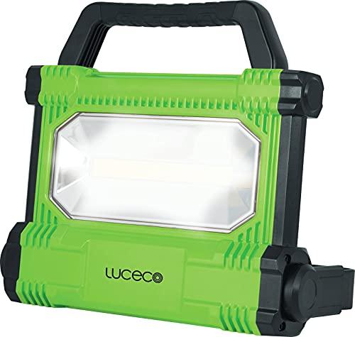 Luceco Baustrahler Wiederaufladbar 30W, Tragbare Arbeitsleuchte 2500 Lumen, Scheinwerfer IP54 Wasserfeste, Akku Lampe 6.600mAh Batterie