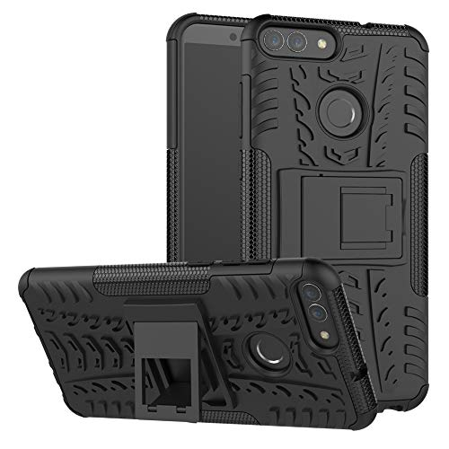 Huawei P Smart case,LiuShan Shockproof Heavy Duty Combo Hybrid Rugged Dual Layer Grip with Kickstand for Huawei P Smart 2018 (Not fit P Smart 2019) Smartphone (with 4in1 Packaged),Black