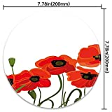 Round Mouse Pad Mousepad with Poppy,Efflorescing Meadow in The Backwoods Vibrant Blossoms Buds Bouquet,Vermilion Olive Green Black Pattern Gel Rubber for Gaming Office - 200MMx3MM