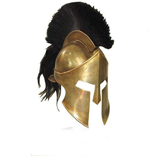 AnNafi Greek Spartan Helmet | Medieval Roman 300 King Leonidas Movie Helmets+Liner+Wooden Stand (Brass Finish)| LARP SCA Armor Adult