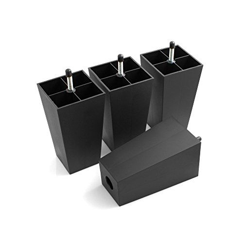 Design61 4er Set Sofa Füße Kunststoff Möbelgleiter Möbeluntersetzer Sofa Sessel zum Anschrauben Kunststoff Möbelgleiter in Schwarz