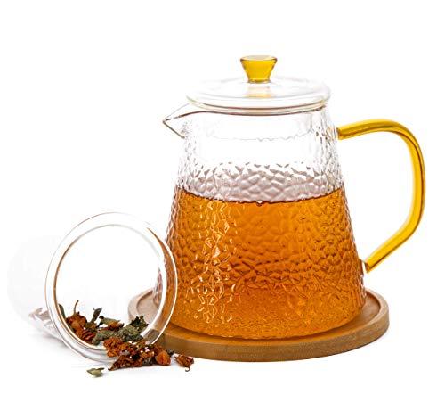 Tetera de cristal con infusor extraible de vidrio para te de hojas sueltas, cafetera de te, hervidor de te e infusor, apto para microondas y estufa, 950 ml.