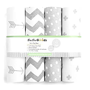 Pack n Play Sheets – Premium Pack and Play Sheets 4 Pack – 100% Super Soft Jersey Knit Cotton Playard Mattress Sheets – Portable Playpen Fitted Play Yard Mini Crib Sheet for Boy & Girl (24 x 38 x 5)