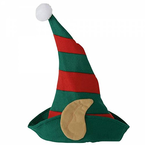 Unbekannt Cappello di Natale a forma di gnomo con orecchie – rosso verde a righe – Taglia unica