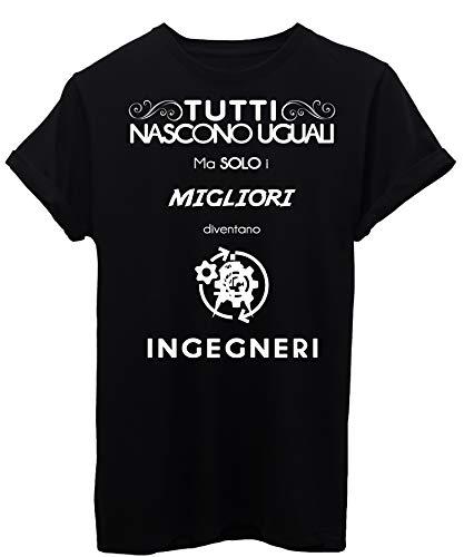 iMage T-Shirt Mestieri Lavori Solo I Migliori Diventano Ingegneri - Divertente - Uomo-L-Nera