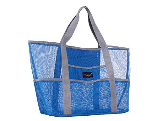Holly LifePro Mesh Beach Bag Toy Tote Bag Large,Lightweight Market Grocery & Picnic Tote with Oversized Pockets,Inside Zippered Pocket,Carry All Organizer Bag Blue,Shoulder Bag for Gym Hiking Picnic