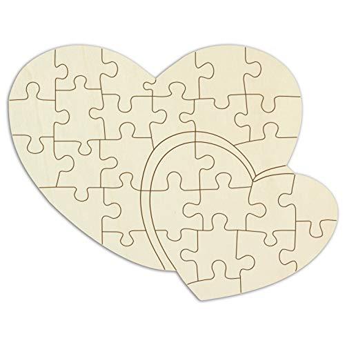 """Kopierladen Holzpuzzle blanko """"Doppelherz"""" selbst gestalten und bemalen, Puzzle unbehandeltem Holz, 33 Teile, ca. 38 x 29 cm, inkl. Puzzlevorlage"""