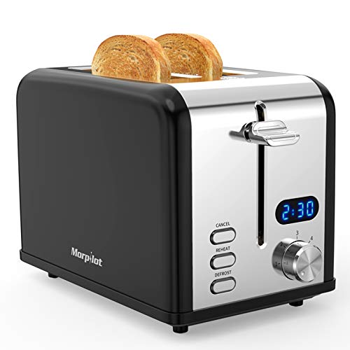 Morpilot Toaster 2 Scheiben Edelstahl Toaster mit Brötchenaufsatz, LED Anzeige, Breite Schlitze, 6 Bräunungsstufen, Krümelschublade Schwarz Retro Toaster für Toast Brötchen Brot