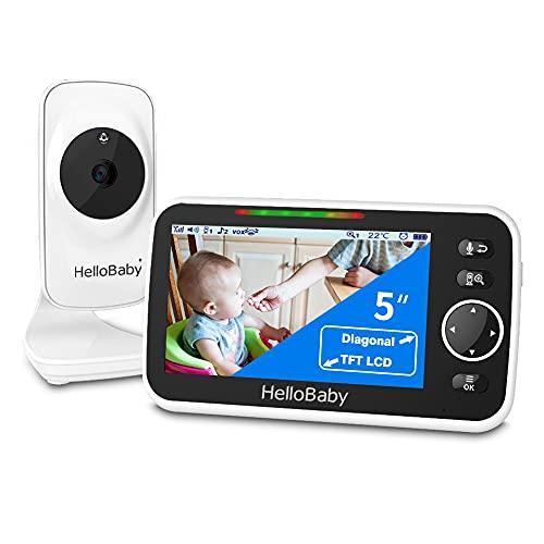 Vigilabebés con Video con cámara y Audio, Pantalla LCD en Color de 5 ', Cámara de Vigilancia HelloBaby, Visión Nocturna por Infrarrojos, Pantalla de Temperatura,Modo VOX