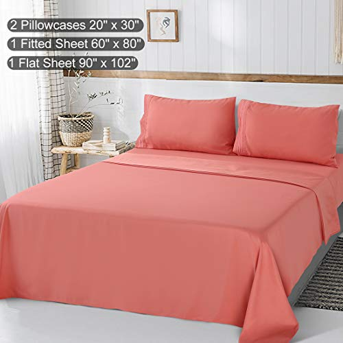 Abakan Bed Sheet Set Queen Size Super Soft 4 Piece Bedding Sheet Smooth Microfiber 1800 Thread Count Luxury Premium Cooling Sheets Breathable Fade Resistant Deep Pocket (Queen, Coral)