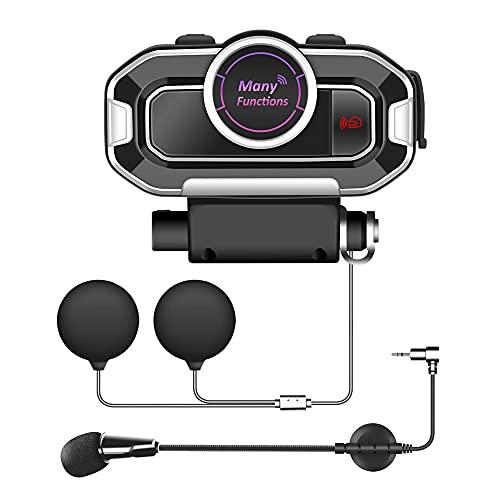 Auriculares Bluetooth para Motocicleta, Intercomunicador para Casco, Casco De Carreras A Prueba De Agua, Auriculares para Bicicleta, Accesorios para Motocicleta Bluetooth 5.0 con Radio FM