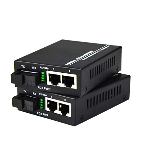 Convertidor de Medios Ethernet Gigabit Convertidor de Fibra Monomodo de 10/100/1000 Mbps Conversor de Medios de Fibra con Doble RJ45, Single SC, Fuente de Alimentación Externa de 5 V, 2 Paquetes