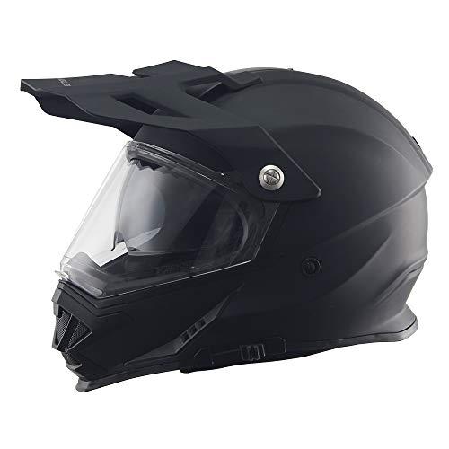 Triangle Motorcycle Modular Full Face Helmet Off-Road Sport ATV Motocross Dirt Bike Dual Visor [DOT Approved ] (Large, Matte Black)