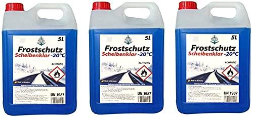 3 x 5 Liter Mega Pack Premium Scheiben Frostschutz 15 Liter Frostschutzmittel Scheibenwaschanlage Scheibenklar bis - 20 ° C Scheiben Klar Express Formel
